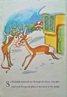 VIntage Illustration Rudolph the Red Nosed Reindeer 1960