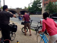 Montreal based documentary film crew on Brooklyn Bicycle Co. Willow, Soma Pick-Up  Artist, and Haley Tricycle rented from our shop while author Harry Kyriakodis (Philadelphia's Lost Waterfronts) looks on with his Brompton.