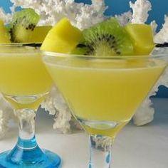 Tropical Depression Recipe Beverages, Cocktails with ice cubes, mango vodka, orange juice, apple juice, pineapple juice