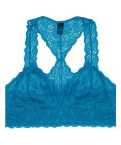 1c40e0d34a601 Turquoise Floral Lace Racerback Bralette  zulilyfinds Sheer Bra