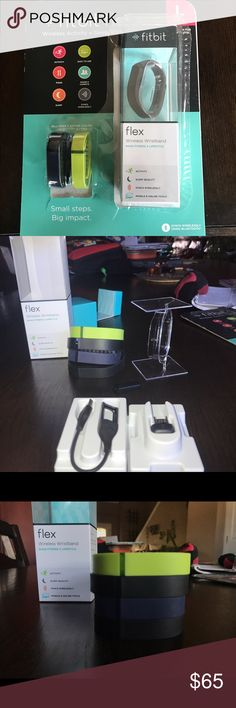 Fit Bit Flex- brand new and in perfect condition. Brand new fit bit flex. Opened packaging, but never used. (Realized I got the wrong type). Comes with four new bands- two small and two large. Also comes with charger and USB. make an offer! :) Fitbit Accessories