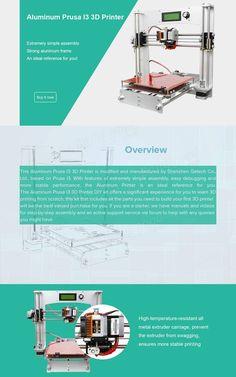 Geeetech Aluminum Prusa I3 3D Printer DIY Kit Support 5 Filament Sale - Banggood.com