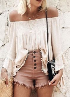 #summer #feminine #fashion #outfitideas | Top And Shorts Boho Combo                                                                             Source