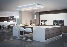 Ticino/Lavinia Gloss white handleless door & Melinga Oak Accent Door - Pickthornes LtdPickthornes Ltd