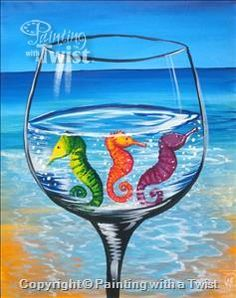 *NEW ART* Colorful Seahorse Cocktail - Fleming Island, FL Painting Class - Painting with a Twist
