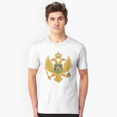"""""""Coat of arms of Montenegro"""" T-shirt by ArgosDesigns Montenegro Flag, Coat Of Arms, Tshirt Colors, Classic T Shirts, Heather Grey, Unisex, Mugs, Mens Tops, Cotton"""
