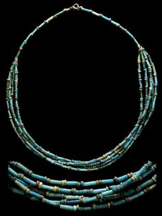 "Ancient Egyptian ""Mummy-Bead"" Jewelry Ancient Egypt, Late Period, 664-535 BC. Gorgeous necklace comprised of high-quality ancient blue-green faience tube beads interspersed with fine yellow, green, red, blue and black disk beads. Single strand with..."