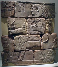 Part of a tomb wall depicting the Nubian Pharaoh Amanitenmemide being protected by the godess Isis. Originally from the pyramid complex of Meroe.