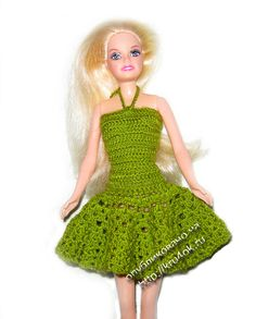 Summer green dress for Barbie - foreign language but chart
