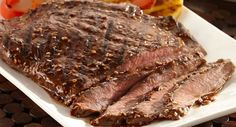 Because flank steak has a large surface area, it benefits from marinating to add flavor. This marinade is a combination of Lawrys Teriyaki Marinade plus ketchup for added sweetness, and crushed red pepper for heat.
