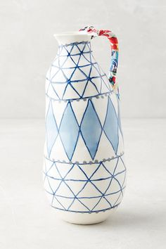 Anthropologie vase:  Keramisk Collection Diamond and triangle in blue