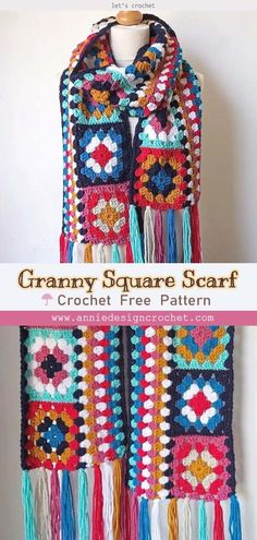 granny square poncho Crochet Granny Square Scarf is so colorful and bright, which will brighten up your outfit. Just join 14 granny squares to get this stylish scarf! Crochet Granny, Easy Crochet, Free Crochet, Crochet Ideas, Crochet Shawl, Crochet Projects, Crochet Blanket Patterns, Crochet Stitches, Granny Square Sweater
