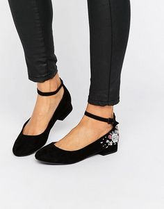 New Look Embroidered Ankle Strap Flat Shoe