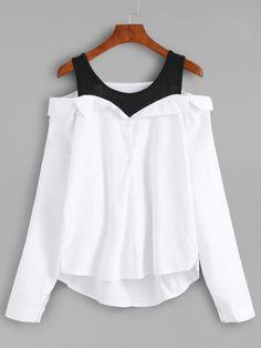 detailed look 96946 63727 Модная блуза с открытыми плечами Romwe, Modedesigners, Hösten 2018, Skor,  Wraps,