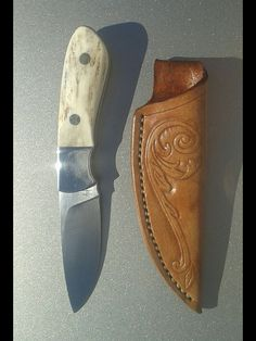 Pops EDC D2 steel with antler handles this knife is going to Knives Illustrated magazine to be tested against 5 other knives  then donated to an armed forces person or law enforcement. By Arts Knife and Leather Works