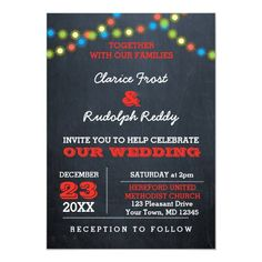 Chalkboard Holiday Lights Wedding Invitation