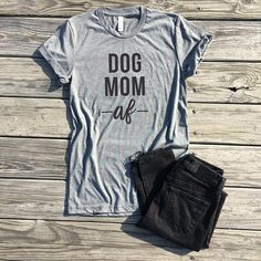 dog mom af, light grey unisex tee, dog mom shirt, dog mom tshirt, dog lover gift, funny graphic tees, i'd rather be home with my dog #winterfashion #fashion #tshirt #funnshirt #humor  #casual #fashion #clothes #outfit #giftideas #gift #giftforher #animallover #animals #dog #cat #sponsored #ad