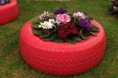 Old tire painted red and filled with flowers