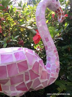 Pink Mosaic Flamingo Garden Art Made from Plastic Pink Dollar Store Flamingo