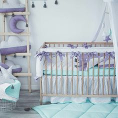 New baby nursery bedding is ready for you baby!  three colours - purple, dusty rose and dark mint. As amazing as it eaven could be!! Love it so much ❤
