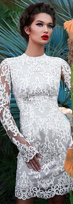 Amazing Tulle High Collar Short Sheath/Column Wedding Dress With Lace Appliques