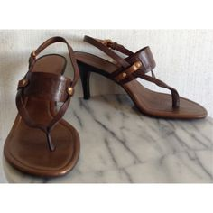 """HP Cole Haan Lexa Sandals Excellent condition! The paint has chipped a little on the front of the toes. A little wear on the back of the heels near the bottom. Minor dirt and bending inside. Bottom looks great. Super cute Cole Haan """"Lexa"""" high heel sandals. Brown leather top with some copper accents. Brown stacked heels. The straps are adjustable. These definitely run a bit smaller than a 7.5. +All offers welcome Cole Haan Shoes Sandals"""