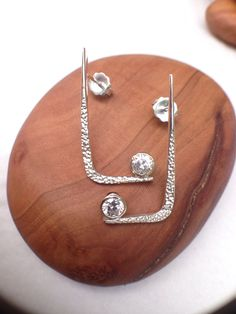 Stunning Silver and Diamond Cut CZ bezel Set Hanging Earring on Etsy, $125.00