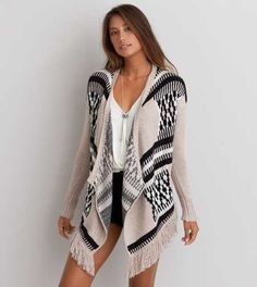 AEO Fringe Open Cardigan - Buy One Get One 50% Off