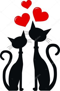 Vector - two black cats in love - stock illustration royalty free illustrations stock clip art icon stock clipart icons logo line art EPS picture pictures graphic graphics drawing drawings vector image artwork EPS vector art Silhouette Chat, Black Silhouette, Cat Quilt, Art Icon, Cat Drawing, Free Illustrations, Cat Love, Rock Art, Cat Art