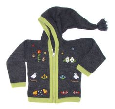 Peruvian Wool Sweater Jacket  Dark Grey blue animals baby Children  embroidery handmade with beanie