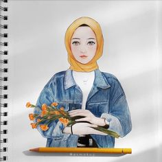 best kartun beautiful muslim art - my ely Cute Disney Drawings, Cartoon Drawings, Cute Drawings, Cartoon Illustrations, Hijab Drawing, Drawing Art, Drawing Sketches, Islamic Cartoon, Anime Muslim