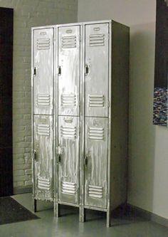 Vintage Triple Column, 2 Tier Brushed Steel Locker Set