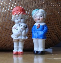 VERY SWEET, ANTIQUE BISQUE FROZEN CHARLOTTE/CHARLIE BOY & GIRL DOLLS, JAPAN