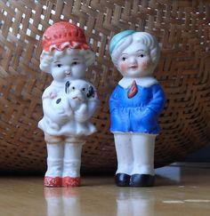 VERY SWEET, ANTIQUE BISQUE FROZEN CHARLOTTE/CHARLIE BOY & GIRL DOLLS, JAPAN