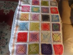 Babies cot blanket squares blanket afghan by MaddisonsRainbow Cot Blankets, Cot Quilt, Gold Angel Wings, Square Blanket, Baby Wraps, Hand Crochet, Handmade Crafts, Baby Quilts, Squares