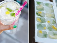 lemon mint ice cubes