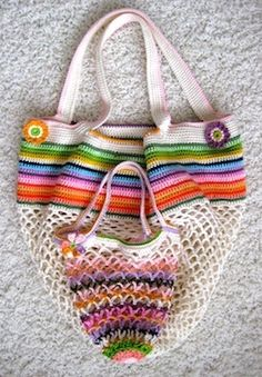Crochet Mesh and stripes, big and small bag