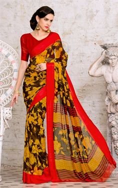 Picture of Magnificent Yellow Printed Saree