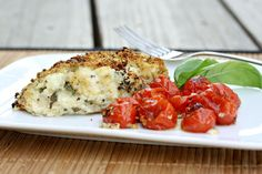 cheesy basil stuffed chicken with tomatoes