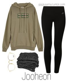 """Night In // Jooheon"" by suga-infires ❤ liked on Polyvore featuring UNIF, NIKE and Ray-Ban"