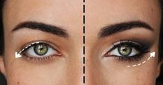Hooded eye makeup tutorial for hooded eyes and crepey eyelids. Step-by-step instructions for makeup over 50 to teach you how to lift and flatter droopy eyelids. Basic Makeup, Eye Makeup Tips, Smokey Eye Makeup, Skin Makeup, Makeup For Droopy Eyelids, Eyeliner Makeup, Makeup Kit, Eyeliner Styles, Makeup Guide