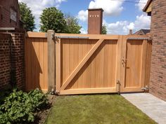 Building A Wooden Gate, Wooden Fence Gate, Fence Gate Design, Privacy Fence Designs, Home Fencing, Garden Gates And Fencing, Fence Gates, Fences, Backyard Gates