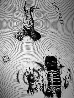 Desenho Donnie Darko nanquim papel A4