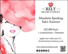 Mandarin Speaking Sales Assistant Bond Street £25,000 + commission + bonuses Send your CV to admin@relyrecruitment.co.uk  #retail #luxuryretail #luxuryretailrecruitment #luxuryrecruitment #luxuryfashion #luxuryjobs #bondstreet #london #londonfashion #glamour #harrods #selfridges #westfield #menswear #sexy #ladieswear #womenswear #salesassistant #girls #fashion #russian #chinese #mandarin #storemanager #menswear #LouisVuitton #Hermès #Chanel #Rolex #Cartier #Fendi #JimmyChoo #ChristianDior