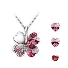 #Valentines Day Gifts Swarovski Austrian Crystal Elements Lucky Four-leaf Clover Pendant Necklace and Heart-shaped Stud Earrings - 18 Inch Chain 18k True Platinum Electroplate - Rose Red