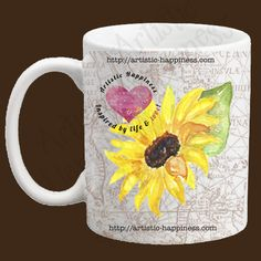 This is an 11 oz. all white mug with a full image wrap of a map around the entire mug, and a sunflower on one side. This mug design is professionally created and permanently inked in Maryland, USA.  What a great gift for friends and family or just an extra special treat for yourself!  Sunflower And Map Mug
