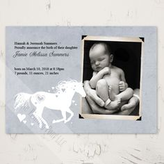 Whimsical Heart Horse Newborn Birth Announcement (10 pk) - The Painting Pony