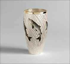 :: Welcome to Fred Rich Enamel Design ::Leaping Salmon Beaker: spun silver beaker with applied fine silver salmon, hand carved and then enamelled, incorporating 22ct gold wire, applied silver wire with hand carved