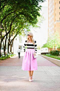 Nadia Tarr Stripe Crop Top + Tibi Full Skirt   A Little Dash of Darling
