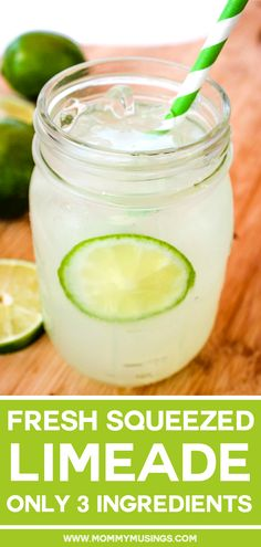 This fresh-squeezed Limeade Recipe is sweet and tart, and a cinch to make with only 3 ingredients. Plus, it makes a delicious base for summer cocktails! Limeade Margarita, Limeade Drinks, Margarita Recipes, Smoothie Recipes, Smoothies, Drink Recipes, Healthy Cocktails, Non Alcoholic Drinks, Alcoholic Punch